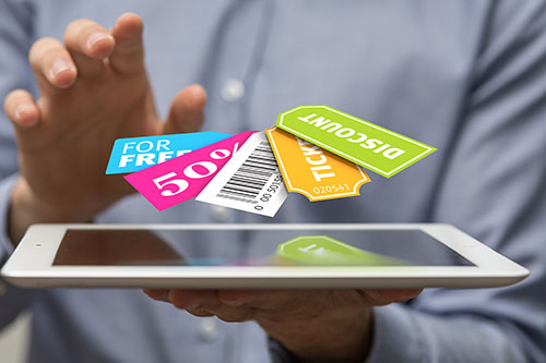 Tablet with coupons